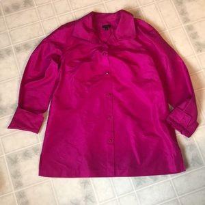 Talbots Bright Pink Silk Buttondown Blouse Sz 12
